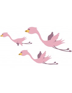 Stickers Jungle & Savane,sticker enfant: 3 flamants roses