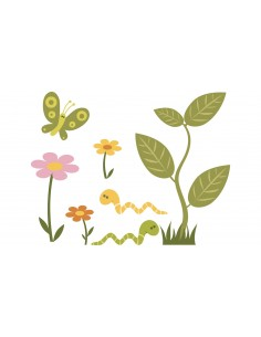 Stickers Jungle & Savane,Sticker muraux: Fleurs et papillons