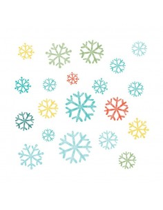 Stickers Polaire,Sticker Frise: 20 Flocons Multicolores