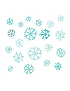 Stickers Polaire,Sticker Frise: 20 Flocons Bleus