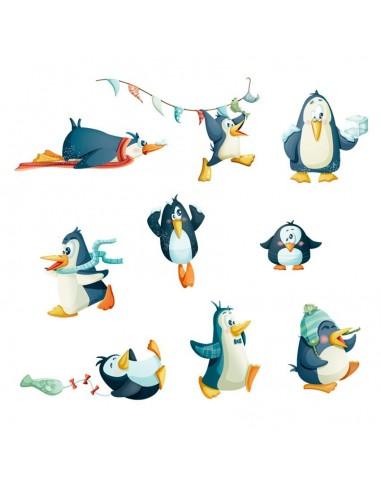 Stickers Polaire,Sticker Frise: Pingouins de la Banquise