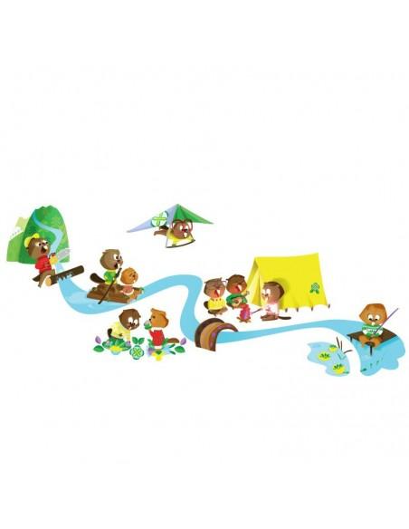 Stickers Forêt,Sticker Forêt: Frise castors et rivière