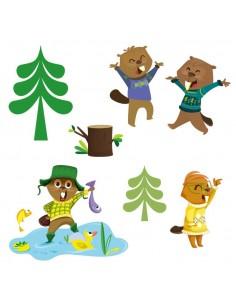Stickers Forêt,Sticker Forêt: Frise castors pêcheurs
