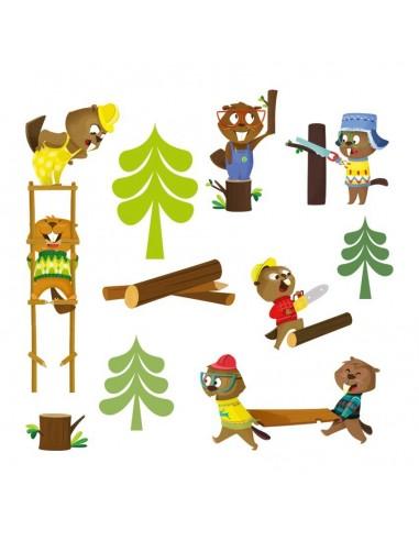 Stickers Forêt,Sticker Forêt: Frise castors bûcherons
