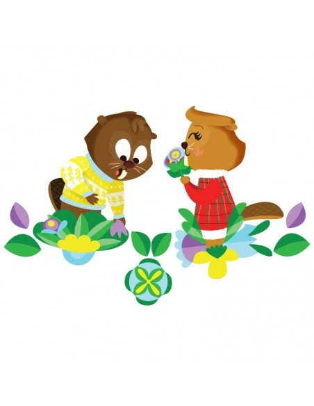 Stickers Forêt,Sticker enfant: 2 castors amoureux