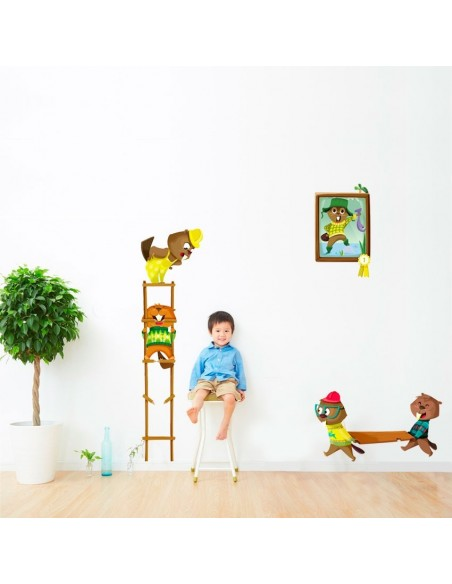 Stickers Forêt,Sticker enfant: Castors transportant une planche