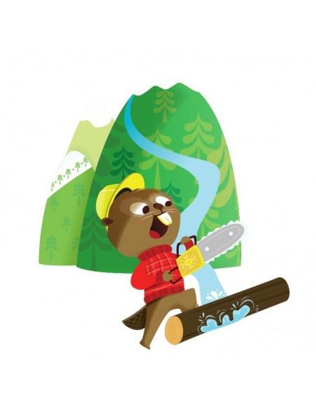 Stickers Forêt,Sticker enfant: Castor à tronçonneuse