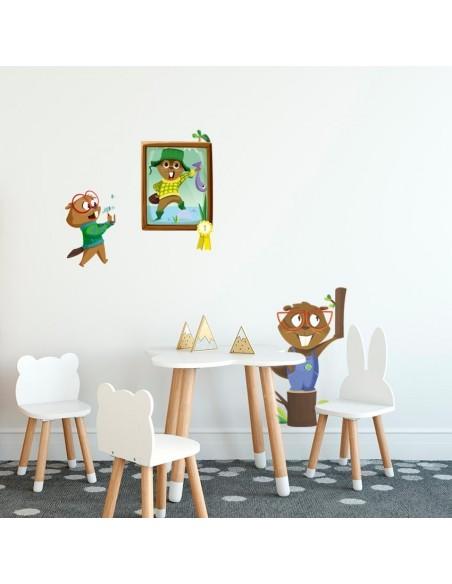 Stickers Forêt,Sticker enfant: Castor bricoleur