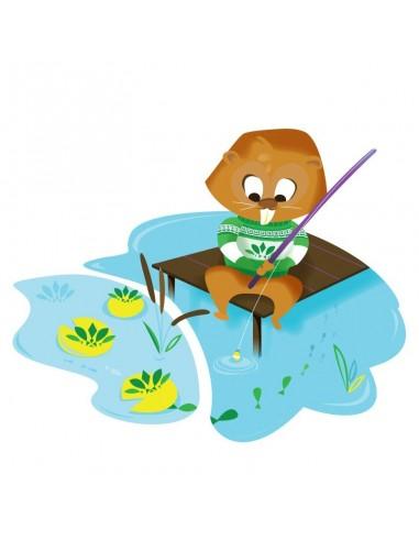 Stickers Forêt,Sticker enfant: Castor pêcheur