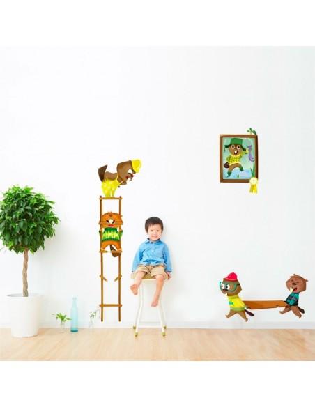 Stickers Forêt,Sticker enfant: Castors sur une échelle