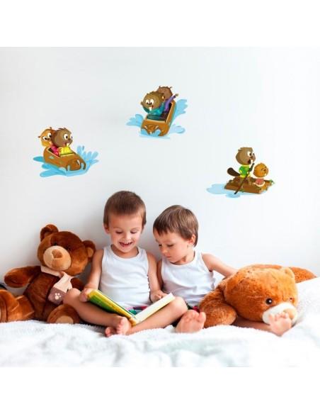 Stickers Forêt,Sticker enfant: 2 castors en radeau