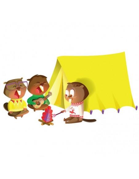Stickers Forêt,Sticker enfant: Castors campeurs