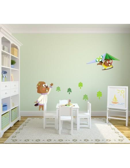 Stickers Forêt,Sticker enfant: Castor fille