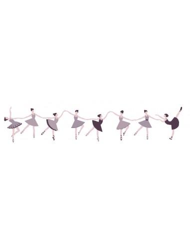 Stickers Danseuse,Sticker fille: Frise Danseuse en Couleurs