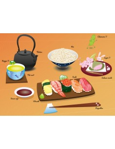 Set de table,Set de table enfant: repas japonais