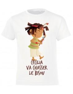 T-shirt personnalisable enfant fille : indienne qui chasse