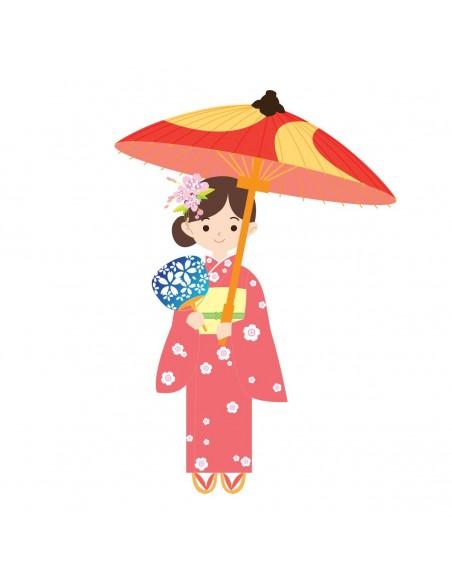 Stickers Asie,Sticker enfants japon: Japonaise en kimono