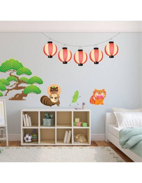 Stickers Monde,Sticker enfant japon: cinq lanternes japonaises