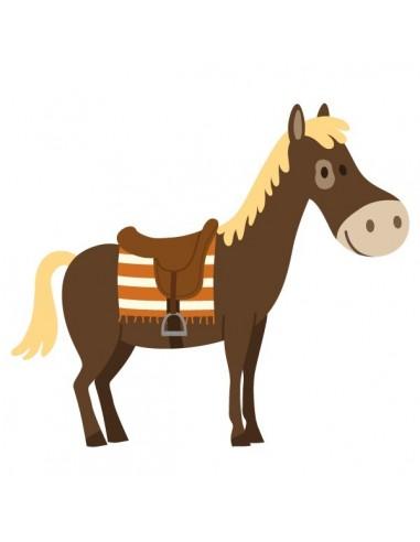 Stickers Indiens & Cowboys,Sticker cowboy: cheval marron