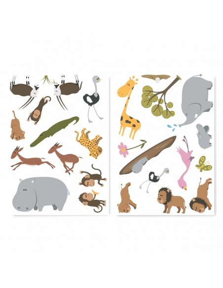 Stickers Bébé,Sticker Bébé: petite frise de 25 Stickers Savane