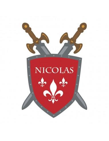 Stickers Prénom,Sticker Prénom: bouclier chevalier