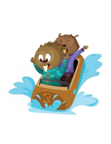 Stickers Forêt,Sticker enfant: Castors rafting