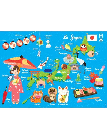 Set de table,Set de table enfant: Carte du japon