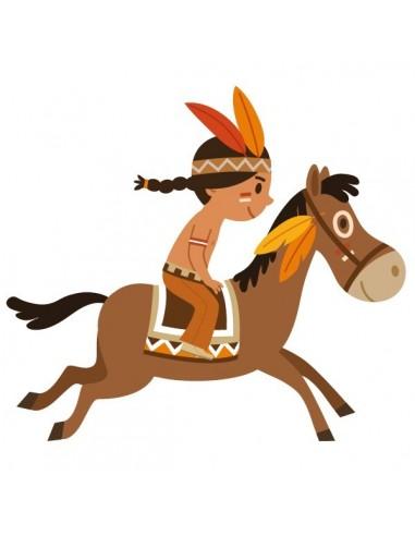 Stickers Indiens & Cowboys,Sticker garçon: indien et son cheval