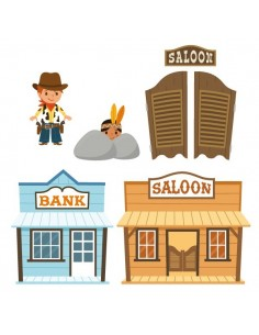 Stickers Indiens & Cowboys,sticker decoratif: frise saloon