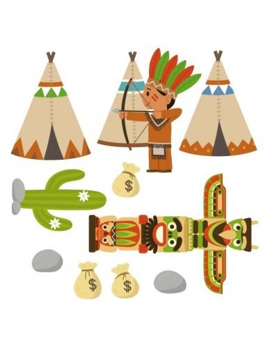 Stickers Indiens & Cowboys,sticker enfant: frise totem indien