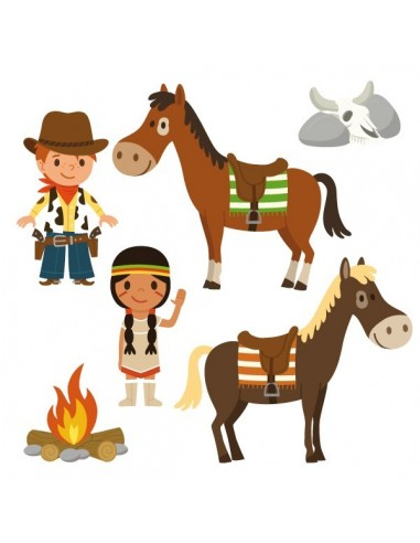 Stickers Indiens & Cowboys,sticker enfant: frise cowboys et