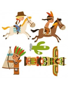 Stickers Indiens & Cowboys,sticker enfant: frise cowboy et