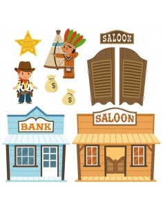 Stickers Indiens & Cowboys,sticker enfant: frise saloon indien