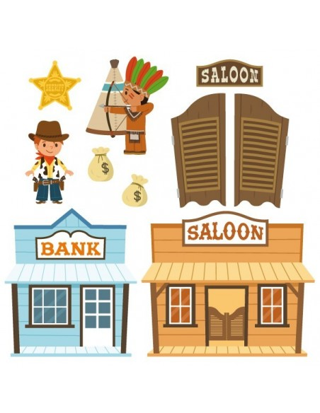 Stickers Indiens & Cowboys,sticker enfant: frise saloon indien
