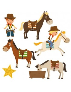 Stickers Indiens & Cowboys,sticker enfant: frise cowboy