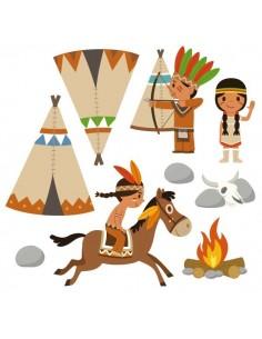 Stickers Indiens & Cowboys,sticker enfant: frise clan des