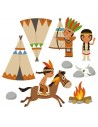 Stickers Indiens & Cowboys,sticker enfant: frise clan des