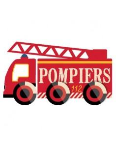 Stickers Pompier,sticker mural: camion pompier échelle