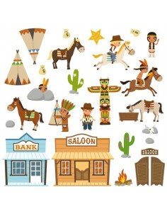 Stickers Indiens & Cowboys,Grande Planche Cowboy de 25 stickers