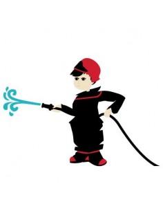 Stickers Pompier,sticker mural: pompier et sa lance