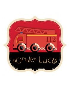 Stickers Pompier,Sticker Prénom à personnaliser: écusson pompier