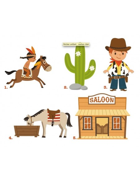 Stickers Indiens & Cowboys,Kit Stickers: Cowboys