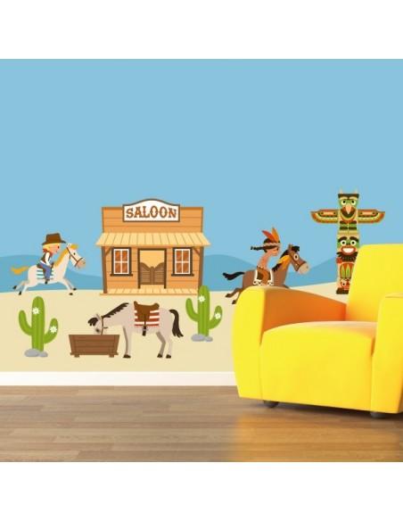 Stickers Indiens & Cowboys,sticker decoratif: frise saloon