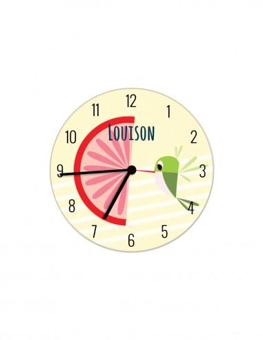 Horloges,Horloge enfant personnalisable: Pioupiou pamplemousse