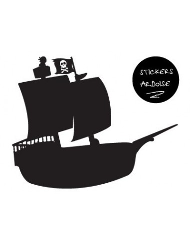Stickers Pirates,Sticker garçon ardoise: bateau des Pirates
