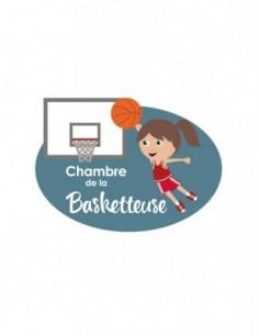 Plaques de porte,Sticker de porte Enfant: Basketteuse