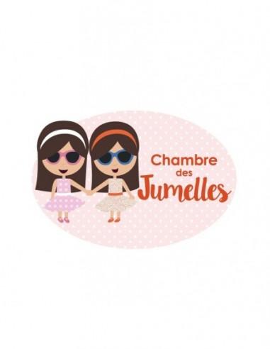 Plaques de porte,Sticker de porte Enfant: Jumelles