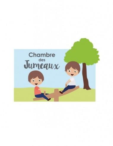 Chambre Enfant Bleu,Sticker de porte Enfant: Jumeaux