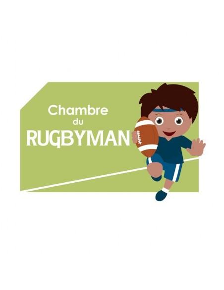 Plaques de porte,Sticker de porte Enfant: Rugbyman