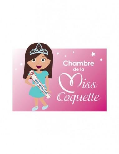 Chambre Poupée,Sticker de porte Enfant Fille: Miss coquette